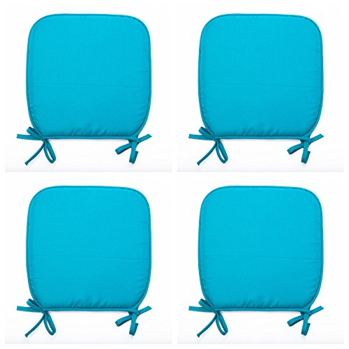 Luxury Garden, Dining Chair Foam Cushions Tie On Seat Pads in set of 2,4,6 or 8 (Pack of 4, Torqoise)