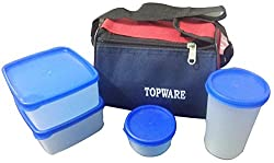 Topware Plastic 4 White Container Lunch box with Red & Blue Carry Bag