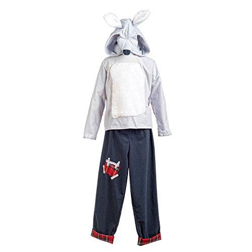 (Elbenwald Rotkäppchen Wolf Kostüm Kinder Märchen Kostüm 2tlg Oberteil u Hose weiß grau - 9/11 Jahre)
