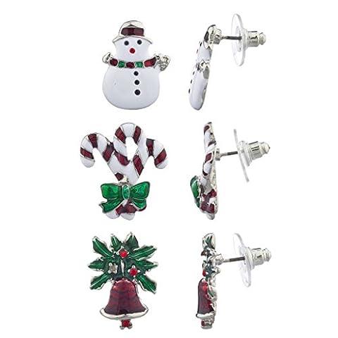 LUX Zubehör Weihnachten X-mas Schneemann Zuckerstange Glocken Multi Ohrring Set