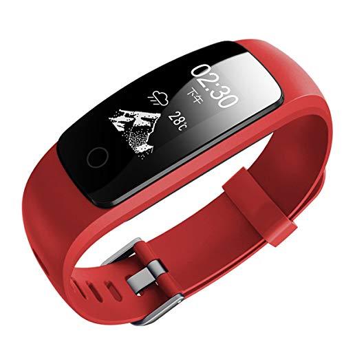 PeiXuan2019 ID107 Plus HR Bluetooth Smart Armband Smartband Pulsmesser Multi Sport Cardio Fitness Geführter Atemtracker (Color : Red)