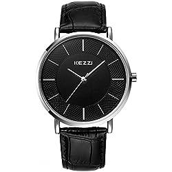 Kezzi Herren-Armbanduhr Klassische Quarz Leder Ultra Slim Case k738