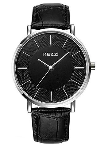 Kezzi K738 Montre Homme Quartz Analogique Cadran Noir Bracelet Cuir