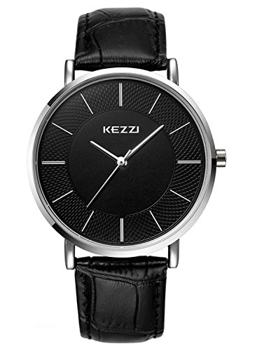 Kezzi Men's Minimalist Quartz Watch with Ultra-thin Black Dial and Calf Black Leather Strap k738