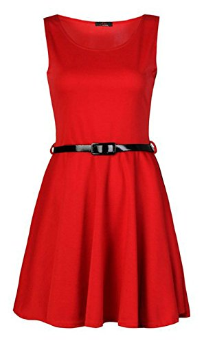 Generic - Robe - Patineuse - Sans Manche - Femme Rouge