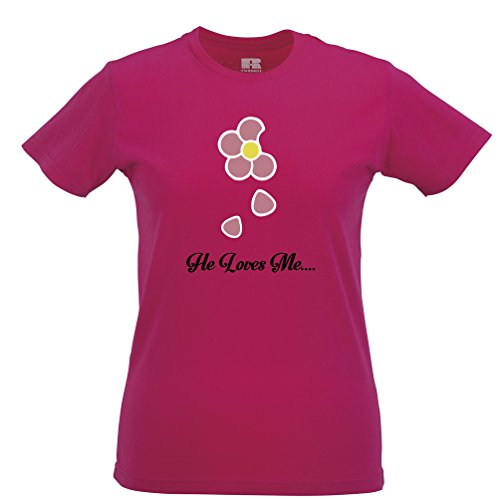Er liebt mich Gänseblümchen-Druck Blumen nette blumige Damenmode Frauen T-Shirt
