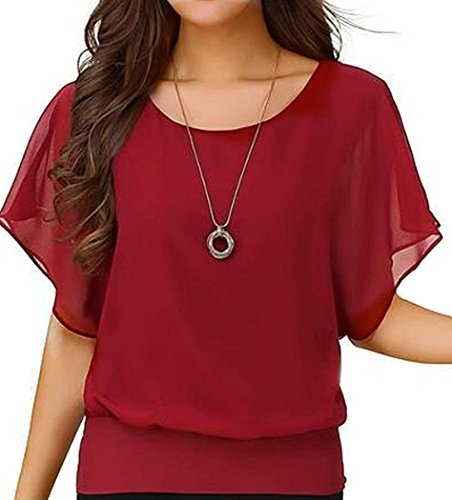 VIISHOW Damen Sommer Casual Loose Fit Kurzarm Fledermaus Batwing T-Shirt Shirt Chiffon Top Bluse(Rot XL) (Bluse Top Tunika)