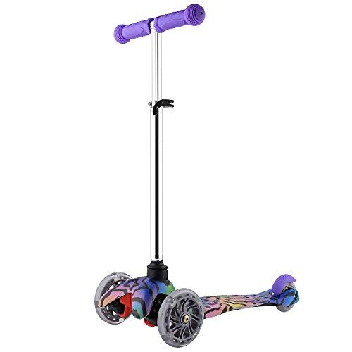 Tomasa Kinder Roller,Big Wheel Tretroller Kickboard-Scooter,Dreiradroller Scooter mit Verstellbare Handgriff für 3+ (Lila)