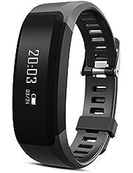 Padgene®Bracelet Connecté Etanche Sport Tracker Bluetooth Fréquence Cardiaque Podomètre Sommeil pour Smartphone IOS Android, Noir