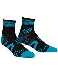 Compressport Pro Racing V2 Run Hi - Calcetines para hombre, color negro / azul, talla M