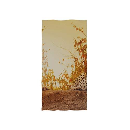 Plosds Handtücher für das Bad Weiblicher Gepard bei Sonnenuntergang im kenianischen Savanna5 Weiche Handtuch Fingerspitze Handtuch für Baby-Dusche Wrap Gym Sport 30 x 15 Zoll Handtücher Badezimmer