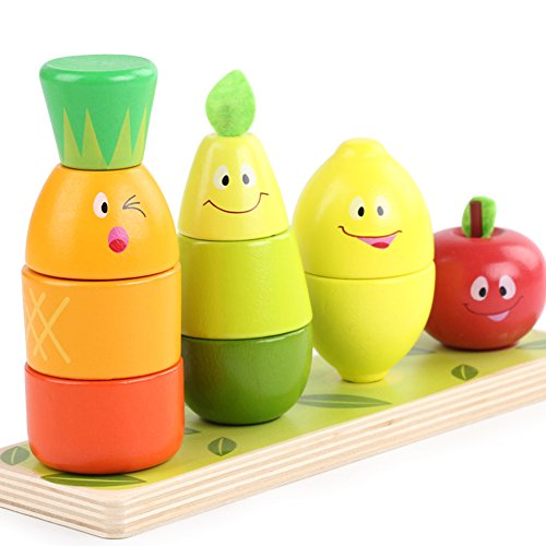 Lewo Wooden Educational Toy Preschool Fruit Shape Colour Recognition Geometric Blocks Stacking Sorter Chunky Puzzle for Baby Toddlers