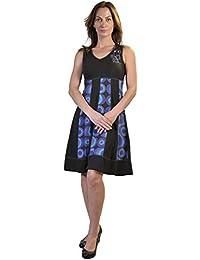 Verano sin mangas con cuello en V vestido de las mujeres con la burbuja de  impresión 35a62d0df9c3