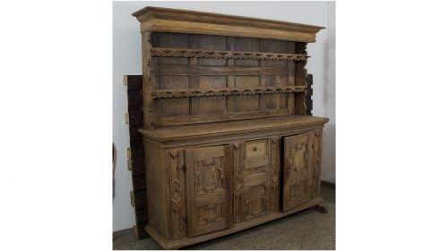 Antik um 1780 Kannenstock Buffetschrank Landhaus massiv Tellerschrank Prahlhans
