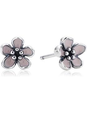 Pandora Damen-Ohrringe 925 Sterling Silber Emaille rosa 290537EN40
