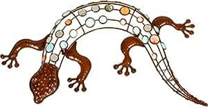 Gecko décoratif en métal décoration murale en métal rouillé dekorsteinen colorés