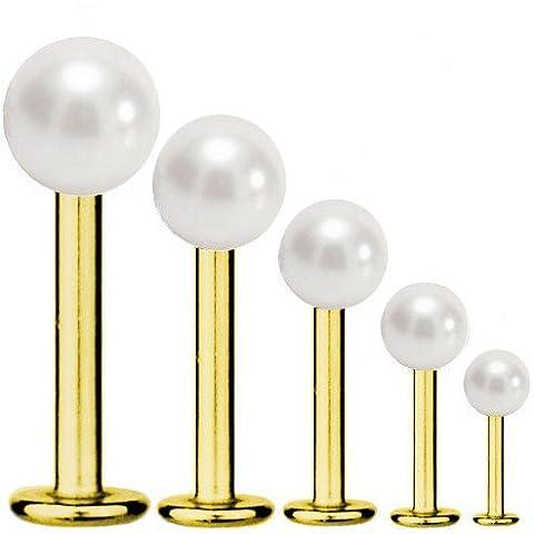 Labbra-piercing Titan indora 1,2 mm con gemma con Perle colore bianco | 5 - 12 mm - Perle Di Titanio