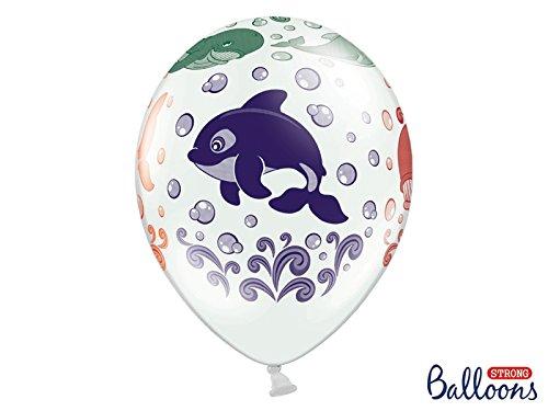 Preisvergleich Produktbild Luftballon weiß mit Orka Wal Pottwal Delfin Hai - Motiv Ozean verschiedene Unterwassertiere mit verschiedenen Farben 10 Stück 30cm Heliumgeeignet Ballon Dekoration Geburtstag Party Tier Tierluftballon Tiermotive Tiere Tiereluftballon