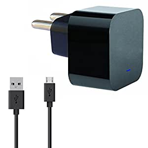 ShopMagics 2 Amp Mobile Charger for BLU Dash 3.2 Charger Original Adapter Like Mobile Charger | Power Adapter | Wall Charger | Fast Charger | Android Smartphone Charger | Battery Charger | Hi Speed Travel Charger With 1 Meter Micro USB Cable Charging Cable Data Cable ( 2A, Black / White )