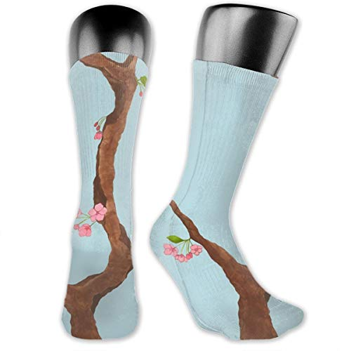 Jenny Cherry Blossoms On Light Blue Unisex Athletic Crew Socks Running Gym Compression Foot (Cherry Kostüm Blossom)