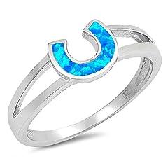 Idea Regalo - Scegli Il Tuo Colore Argento Sterling Ferro di Cavallo Anello e Argento, 9,5, Colore: Blue Simulated Opal, cod. RNG17057-5