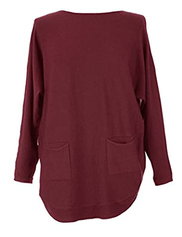 Ladies Women Lagenlook Quirky Batwing Long Sleeve 2 Pocket Button Back Detail Scoop Hem Knitted Jumper Sweater Tunic Top One Size UK 10-16 (One Size, Burgundy)