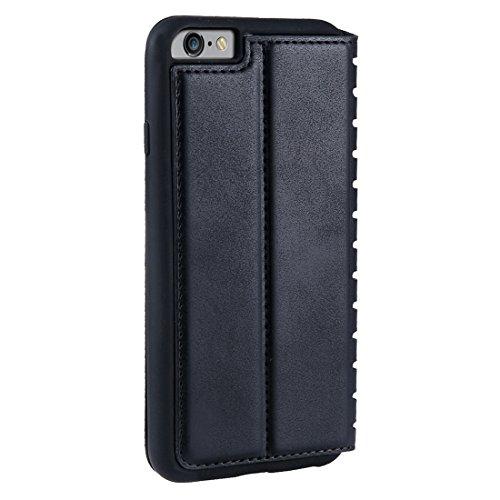 Phone Case & Hülle Für iPhone 6 Plus & 6s Plus PU Retro Textur mit Absorption Horizontal Flip Ledertasche mit Halter & Kartensteckplätze ( Color : Brown ) Black