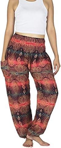 Lanna Lanna Thai Harem Trousers / Harem Pants - Yoga, Festival & Boho Hippy Style Trousers / Aladdin Trousers with Peacock Feather, Elephant, Stripe & Teardrop Designs (Dark Red Teardrop)