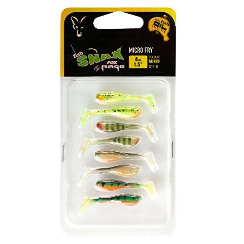 Fox Rage Micro Fry Mixed Colour Pack 4cm - 8 Gummiköder zum Spinnangeln auf Barsche & Forellen, Gummifische zum Spinnfischen - Fries