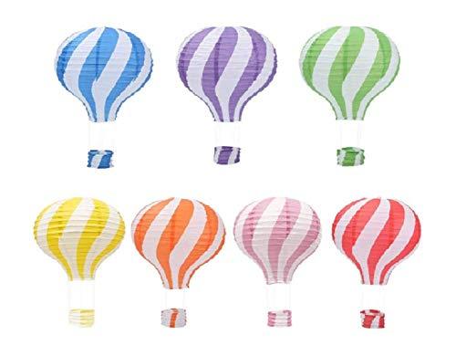 Lot de 7 New Motif rayé montgolfière Lanterne en papier Décoration de fête de mariage Craft Abat-jour, 16\
