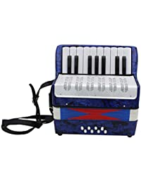 WEIHAN 1PC 17 Key 8 Bass Small Accordion Educational Musical Instrument Toy for Children Early Learning Blue Gift