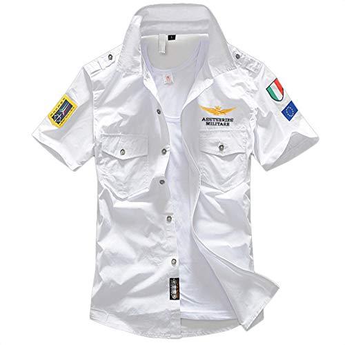 Fu-camo-t-shirt (Hemd Herren Kurzarm GreatestPAK Hemden Pocket T Shirt Einfarbig Stickerei Casual Oberteile Tops,Weiß,EU:XL(Tag:3XL))