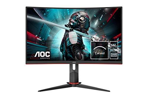 AOC Gaming CQ27G2U 80 cm (27 Zoll) Curved Monitor (WQHD, HDMI, DisplayPort, Free-Sync, 1ms Reaktionszeit, 144 Hz, 2560x1440) schwarz/rot