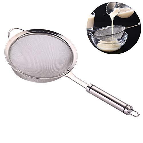 CuiXiang Feinmaschiges Küchensieb mit stabilem Griff, aus hochwertigem Edelstahl, korrosionsbeständig, geeignet für Tee, Kaffee, Mehl, Zucker, Gewürze, Reis