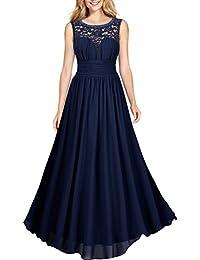 Miusol® Damen Elegant Sommer Trägerkleid Faltenrock Rundhals Abendkleid Spitzen Langes Kleid Schwarz EU 36-46