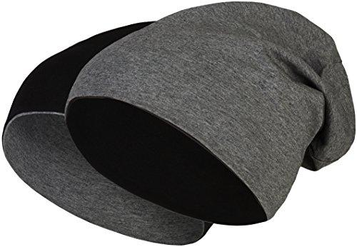 Balinco 2 in 1 Wendemütze - Reversible Slouch Long Beanie Jersey Baumwolle elastisch Unisex Herren Damen Mütze Heather in 24 (8) (Black/Dark Grey)
