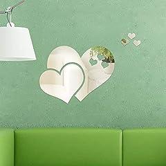 Idea Regalo - Walplus Adesivi da Parete Specchio Parete Cristallo Astratto Cuore Murali Café Hotel Ristorante Ufficio Casa Decorazione