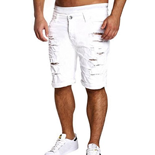 MOIKA Herren Freizeitshorts, Beiläufige Jeans der Männer zerstörte Knielanges Loch zerrissene Hosen(M,Weiß) (Flanell-boxer Weiß)