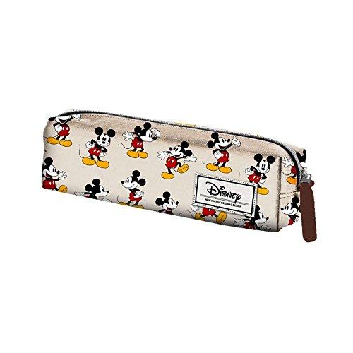 Mickey Mouse Estuche portatodo Cuadrado, Color Beige, 22 cm (Karactermanía 33609), disney classic topolino, poliéster