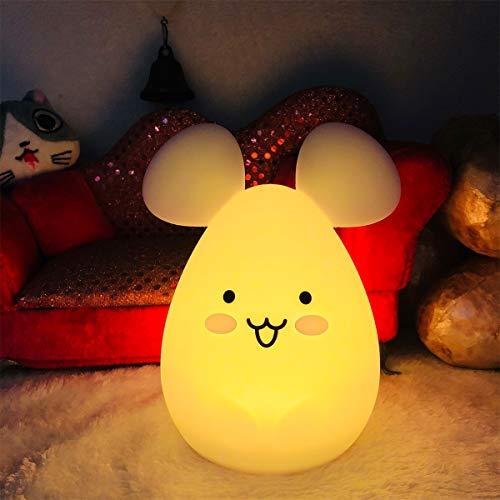 luz nocturna infantil, Tianhaixing LED Silicona blanda Ratón luz nocturna con 9 colores cambiando/USB recargable/control remoto y táctil regulable, ideal Navidad y regalos de cumpleaños para niños