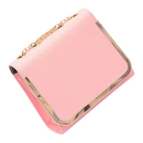 messaggero borsa - TOOGOO(R)piccola borsa sacchetto dellunita di elaborazione Borse di cuoio del messaggero delle donne una spalla di colore della caramella della borsa epoca moda femminile Rose Red rosa