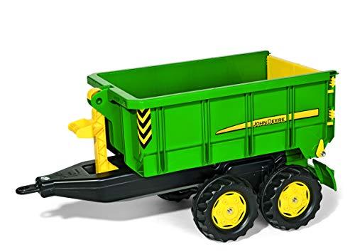 Trettraktor Anhänger Rolly Toys rollyContainer John Deere (Hakenabroll-Kipper mit Absetzmulde, Zweiachsanhänger, für Kinder von 3-10 Jahren) 125098