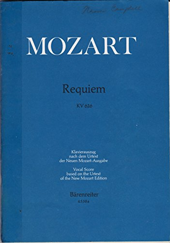 REQUIEM KV 626 Vocal Score (Completed by Franz Xaver Sussmayr, in its traditional form, 4538a)