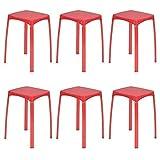 Furnish 1 Lot de 6 tabourets en Plastique PP 32x32x45.5 cm avec Assise et Base en métal Empilable Rouge