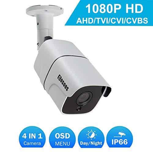 Cámara de Seguridad de Bala 1080P 2.0MP HD, cámara de vigilancia de CCTV Interior/Exterior Impermeable/a Prueba de Polvo a Prueba de Polvo, híbrida 4-en-1 AHD/TVI / CVI / 960H de COSOOS