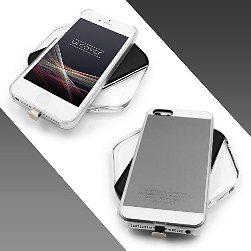 Urcover® Apple iPhone SE / 5 / 5s Qi FAST CHARGING Backcase| Kunststoff in Grau | Ladeempfänger Slim Wireless Charging Ladegerät dünn kabellos laden Grau