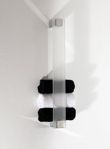 Gästetuchhalter, Handtuchhalter für Gästetücher, Wandhalter, Glas+Chrom - Glas mattiert/gefrostet