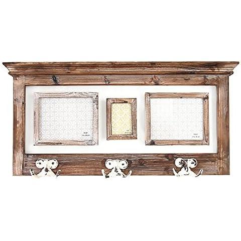 Mensola in legno con ganci e 3 portafoto
