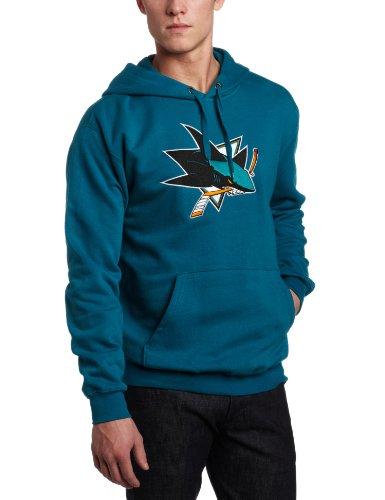 Majestic National Hockey League, Fleece-Pullover mit Kapuze und Filzapplikation für Herren, Herren, M099-1811-2GE-7BH, San Jose Sharks, XXL