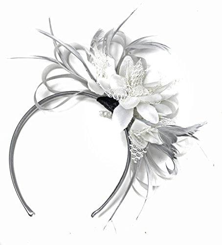 fascinator wei  Silber Gra und wei§ BURLESQUE FASCINATOR Stirnband Hochzeit KOPFSCHMUCK HAARSCHMUCK